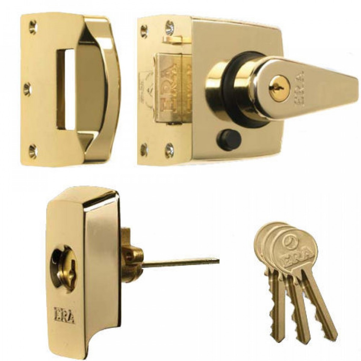 Era High Security B S Night Latch Front Door Lock In Polished Brass Night Latches Locks Latches Bolts