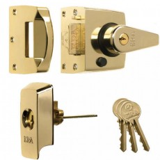 ERA High Security B.S. Night Latch (Front Door Lock) in Polished Brass