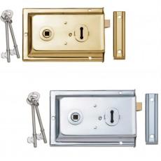 Reversible Rim Lock in Brass and Chrome